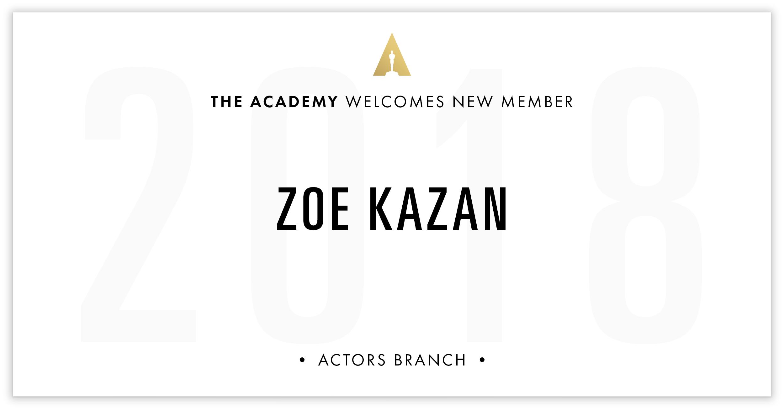 Zoe Kazan is invited!